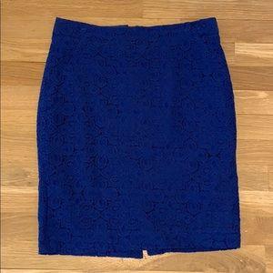 Royal blue lace pencil skirt